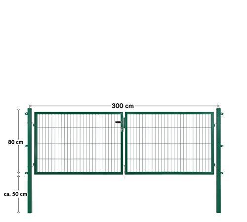 Doppelflügeltore für Stabmattenzaun, grün oder anthrazit, verschiedene Höhen wählbar - inklusive Pfosten und passenden Anschlussstücken (Doppeltor H 80 x B 300 cm, grün)