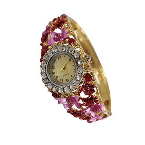 Mingtongli Pulsera del Rhinestone floral muchachas de las mujeres del reloj de cuarzo de las señoras de moda correa de silicona reloj
