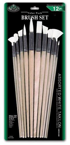 Royal & Langnickel - Juego de pinceles de fibra de taklon (12 unidades, puntas variadas, pelo medio)