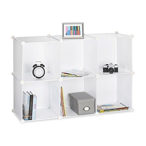 Relaxdays Estantería Modular Pequeña con 6 Compartimentos, Blanco, 32x96x156 cm