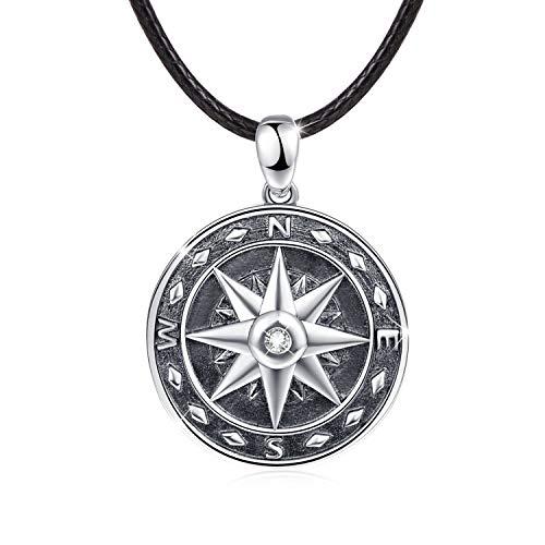 Kompass Halskette 925 Sterling Silber Herren Schmuck Anhänger Halskette schwarz Halskette für Herren Jungen