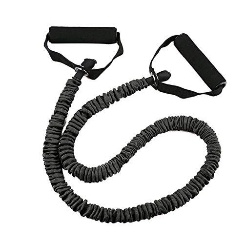 QZH EIN Wort Zug Seil Fitness Tuch Abdeckung Anti-Break Indoor Elastic Seil Rally Yoga Seil Kraft Training Widerstand Band (2 Stück),Schwarz