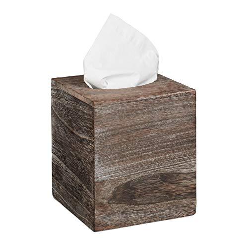 Relaxdays Tücherbox Würfel, Shabby, Taschentuchbox mit Schiebeboden, Tissue Box, quadratisch, HBT:...