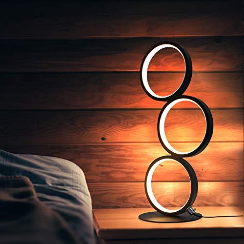 GBLY LED Tischlampe Dimmbar Modern Nachttischlampe Schwarz Schreibtischlampe in Ringform aus Aluminium, 12W Deko Nachtlampe mit 2.9M Kabel und EU-Stecker für Schlafzimmer Wohnzimmer Arbeitszimmer Büro