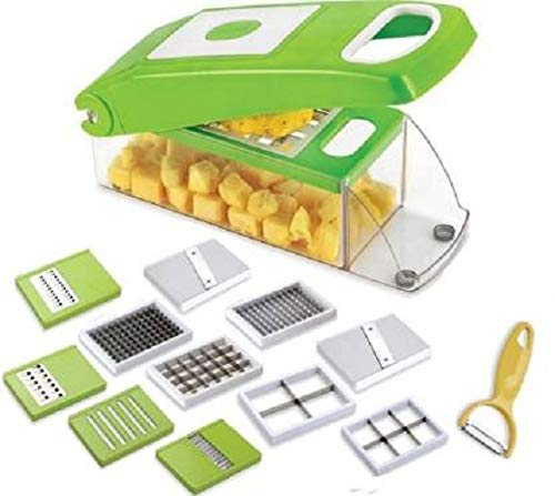 S Satisfyshop 12 in 1 Slicer Dicer Plus 12 Pieces Grater Food-Chopper Multi-Cutter Slicer Peeler, Dicing Fruit, Vegetable Storage Container