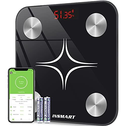 Bilancia Pesapersone Digitale Professionale, INSMART Bilancia Impedenziometrica Smart Bluetooth con 13 Indici di Misurazione - Pesa Persone, Massa Grassa e Magra, BMI, Massa Muscolare o Ossea, 180KG
