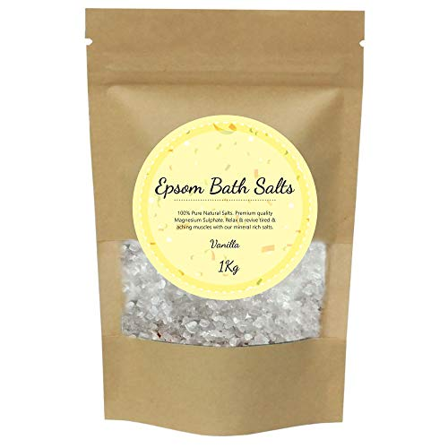 100% Pure Epsom Salts Salt | Magnesium Sulphate Bath Salt | 1KG / 1000g Pack by PSN | Ideal for Relieving Sore Muscles | Reduces Inflammation Scented (Vanilla, 1KG / 1000g)
