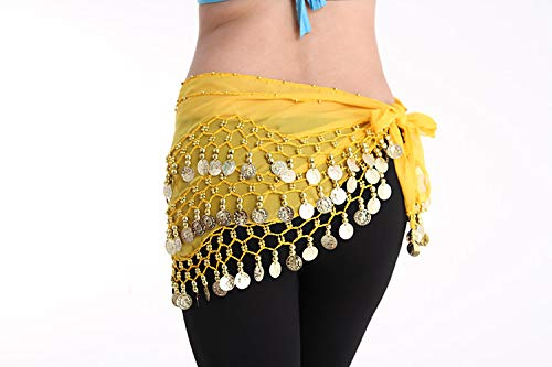 Waist Chain Belly Dance 128 Gold Coin Practice Taille Chain Row 4 Beads Drie Tiered Taille Chain Indian Dance Beginner
