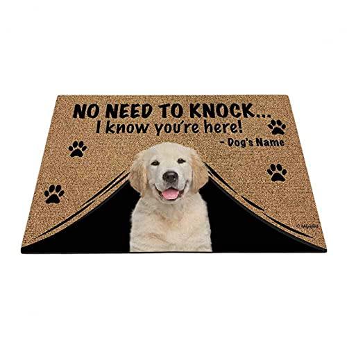 N/A Impresión De Felpudos Felpudo Personalizado con Nombre De Mascota para Foto De Perro Y Gato No Se Necesitan Golpes Estamos Aquí Alfombrilla De Puerta para Interior Y Exterior