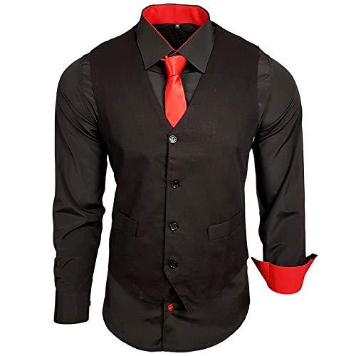 Rusty Neal Herren Hemd mit Weste Krawatte Anzugs Sakko Business Hochzeit Freizeit Hemden Set wählbar RN-44-HWK, Größe:L, Farbe:Schwarz/Rot