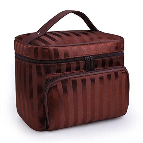 XJYA Multifunktionale Wasserdichte Kosmetiktasche Reisetasche - Große Kapazität Mobile Damen Gestreifte Aufbewahrungstasche - Zipper Tragbare Waschtasche,Brown