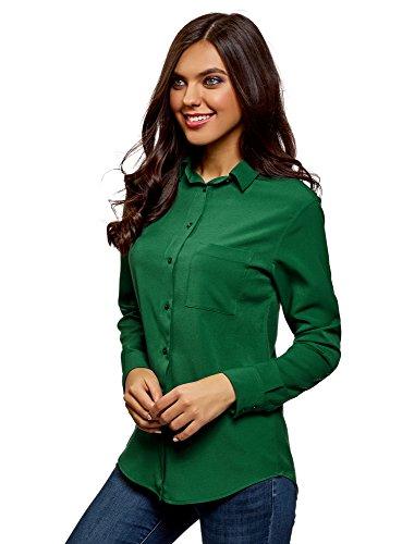 oodji Ultra Mujer Blusa Recta con Bolsillo en el Pecho, Verde, ES 34 / XXS