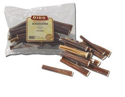 DIBO Ochsenziemerstücke, 12cm, 15 Stück, der kleine Naturkau-Snack oder Leckerli für Zwischendurch, Hundefutter, Qualitätskauartikel ohne Chemie von DIBO