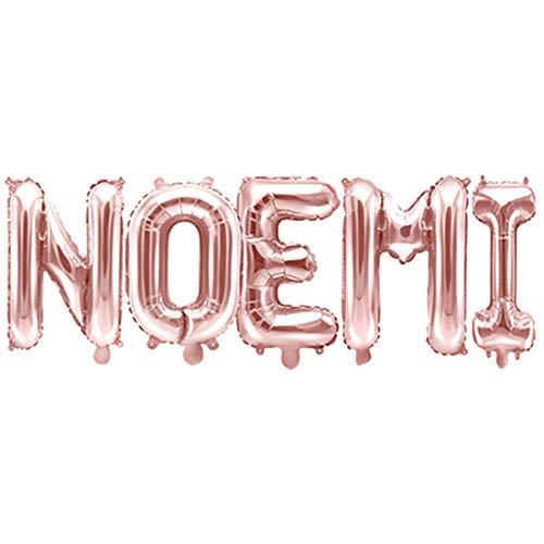 Globo de papel Mylar rosa dorado con texto nombre Noemi de 35 cm