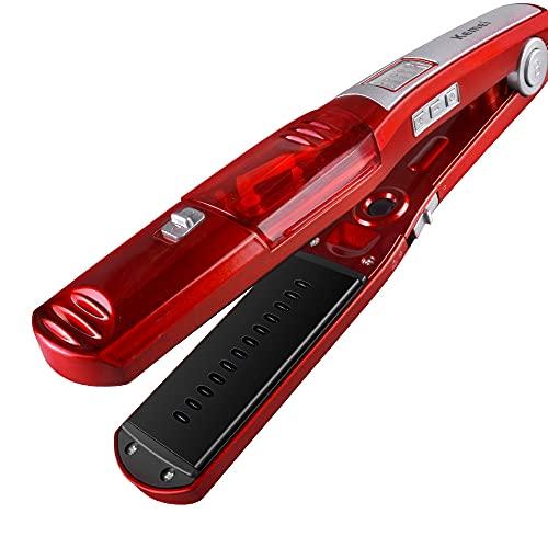 Plancha de pelo para alisar al vapor de forma automática, alisador eléctrico de cabello lacio, pantalla de temperatura, plancha plana, herramienta profesional de cerámica turmalina para calentar