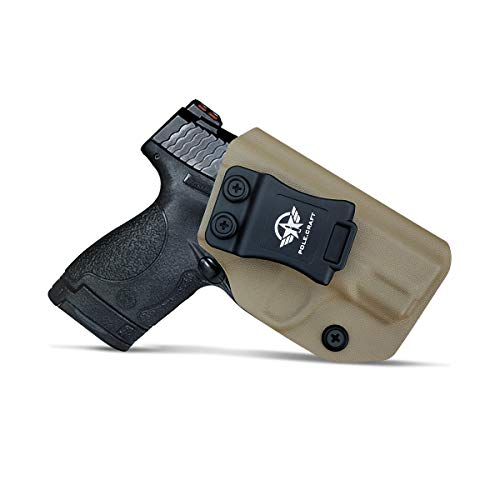 IWB Tactical KYDEX Gun Holster - Custom Fit - Smith & Wesson M&P Shield M2.0 9mm 40 S&W / Crimson Trace Laser / Integrated CT Laser Inside Waistband Concealed Carry Holster (Tan - No Laser, Right)