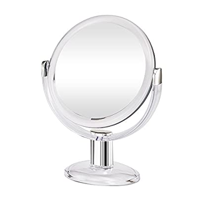 Gotofine Double Sided Magnifying Makeup Mirror, 1X & 10X Magnification with 360 Degree Rotation- Clear & Transparent