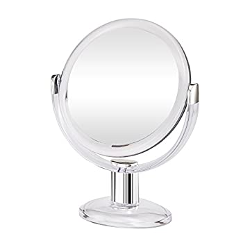 Gotofine Double Sided Magnifying Makeup Mirror 1X & 10X Magnification with 360 Degree Rotation- Clear & Transparent