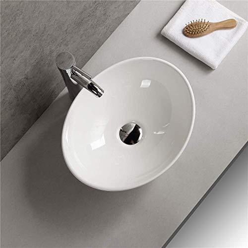 Waschbecken - Aufsatz Waschbecken Oval Waschtisch pflegeleichte Keramik durch Lotus Effekt Design - Wasch Schale - Hochglanz 410 * 330 * 145 mm reinweiß, (Oval) vonArt-of-Baan®