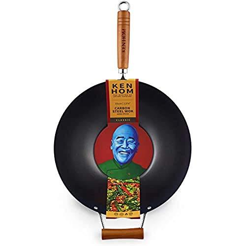 Ken Hom WKH335001 KH335001 Wok de Acero al Carbono, Color Negro, 35 cm