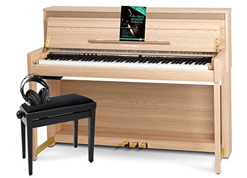 Classic Cantabile UP-1 LA E-Piano Deluxe Set - inklusive Pianobank, Kopfhörer und Klavierschule - Dämpfersimulation - MP3-Recorder - Mic In - OLED Display - 40 Sounds - 3 Pedale - helle Eiche