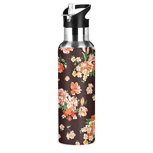 xigua Botella de agua deportiva aislada con tapa de pajita de acero inoxidable al vacío, botella térmica a prueba de fugas, diseño floral coral