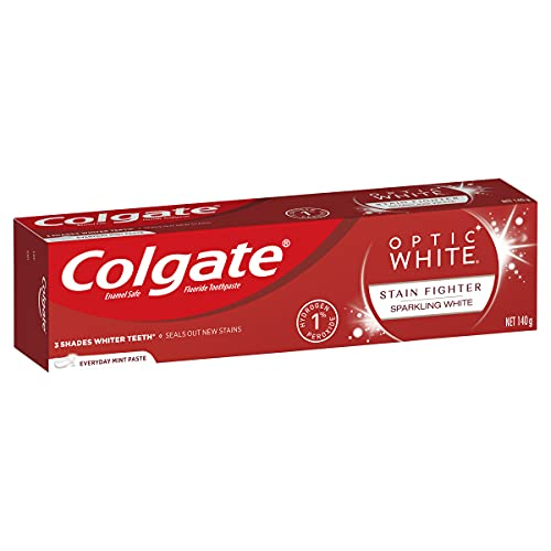 Colgate Optic White Teeth Whitening Toothpaste 140g, Sparkling White, Luminous Mint with Hydrogen Peroxide