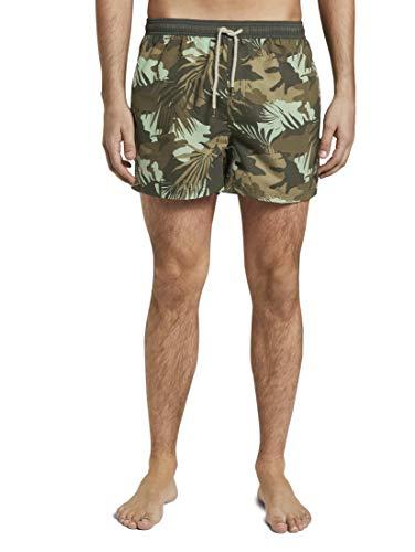 TOM TAILOR Herren Nightwear Badeshorts mit tropischer Musterung Avocado/Multicolor,S,P508,7000