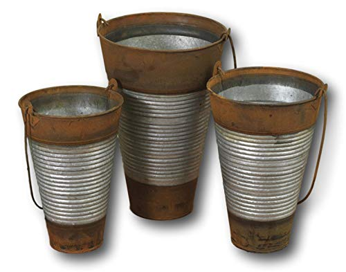 Gerson Galvanized French Metal Buckets with Handle Two-Toned Flower Vases Buckets (Set of All Three Buckets)