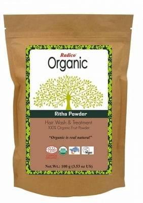 RADICO - Reetha Pulver - Tiefenwirksame & natürliche Reinigung für die Haare - Für Menschen mit Allergierisiko - Natürliches Shampoo - Bringt mehr Volumen Fördert das Haarwachstum - 100 gr