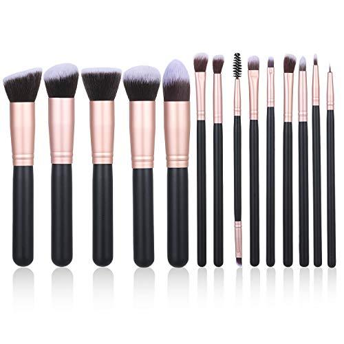 Decdeal Set de Brochas de Maquillaje Profesional de 14 Piezas con Maquillaje de Ojos Rubor Contorno de los Labios Corrector Brochas con Bolsa de Almacenamiento