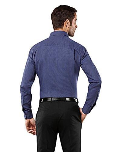 Vincenzo Boretti Men's Shirt Slim Fit Non Iron Patterned with,darkblue,16.5″Neck