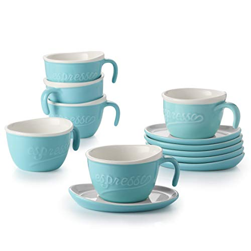 DOWAN Porcelain Espresso Cups with Saucers, 3.5 Oz Cute Coffee Cups and Saucer Set of 6, Stackable Embossed Demitasse Cups, Microwave & Dishwasher Safe, Blue