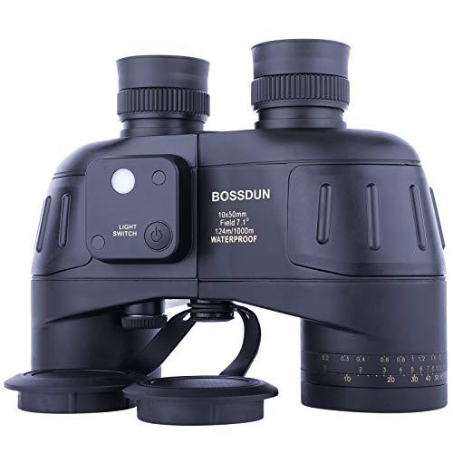 10x50 Binocolo Marino per Adulti, Binocoli Militare Impermeabile con Bussola Telemetro BAK4 Prisma Lente FMC Antiappannamento per la Navigazione Birdwatching Caccia (G)