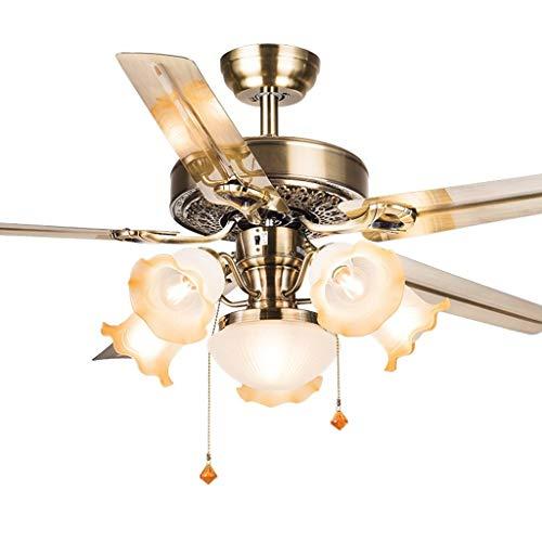Ventilador de techo de hierro, con 6 lámparas de cristal, para el hogar, salón, Pull Cord Retrocontrol Lustre, 48'/52'