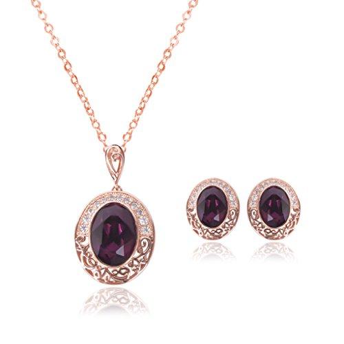 Yofo - Conjunto de joyas vintage para mujer, diseño de fantasía, color morado