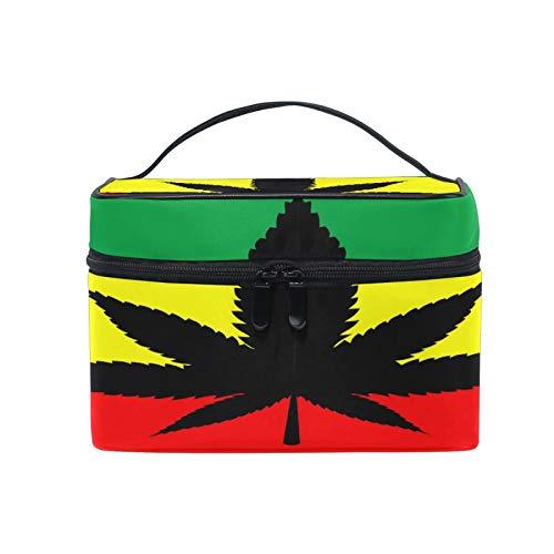 Pixiuxiu - Bolsa de maquillaje, diseño de hojas de marihuana americana, con asa de viaje, bolsa personalizada con compartimentos para mujeres adolescentes