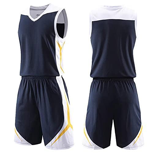 Xygm Juego de baloncesto para hombre y niños, uniformes, trajes deportivos, tallas grandes, camisetas de baloncesto personalizadas, trajes de entrenamiento juvenil, para verano, color negro, talla M: