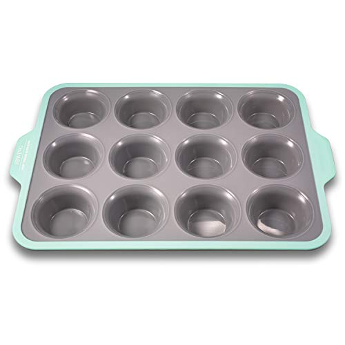 Premium Non-stick Silicone Cupcake Baking Pan with Ergonomics Grips, 12-cup Stainless Steel Core Muffin Pan, Aqua Sky