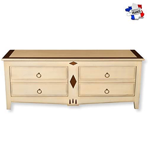 GONTIER TV-meubel garage – massief kersenhout – collectie Melanie – 100% gemaakt in Frankrijk 160x62x47 Bi-ton Blanc-crème et Merisier D