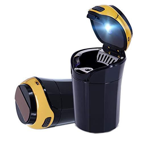 Cinzeiro automotivo Eing, fácil de limpar, cinzeiro destacável de carro inoxidável com luz LED azul e isqueiro removível para a maioria dos suportes de copo de carro (ouro)