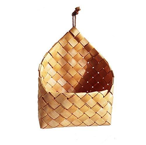 Bcaer Cesta de mimbre colgante tejida a mano, cesta de mimbre natural para decoración de jardín, macetas de pared rústicas para plantas de interior, macetas de pared retro para colgar en la pared