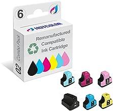 HOTCOLOR Remanufactured Ink Cartridge Replacement for HP 02 HP 02XL Ink for HP photosmart C5180 C6180 C6280 C7180 C7280 C7200 (Black, Cyan, Magenta, Yellow, Light Cyan, Light Magenta, 6-Pack)