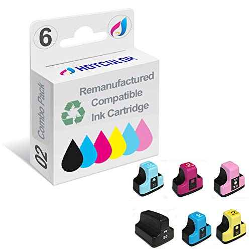 HOTCOLOR Remanufactured Ink Cartridge Replacement for HP 02 Ink for HP photosmart C5180 C6180 C6280 C7180 C7280 C7200 Printer (Black, Cyan, Magenta, Yellow, Light Cyan, Light Magenta, 6-Pack)