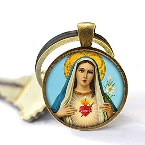 Llavero de la Virgen María religiosa cristiana religiosa religiosa espiritual católica Religión Joyería de cristal Foto Joyería