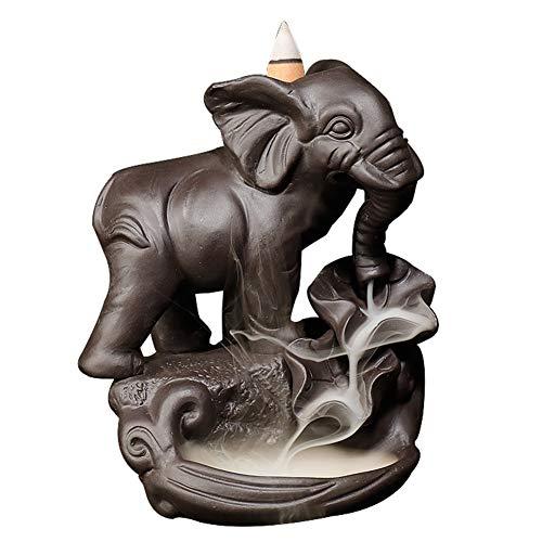 MANTFX Handmade Backflow Incense Burner Elephant, Cute Ceramic Elephant Burner, Incense Holder Censer for Home Decoration (No Fragrance)