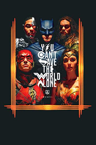 US DCEU Justice League Poster Save The World 01B Black: Notebook Planner - 6x9 inch Daily Planner Journal, To Do List Notebook, Daily Organizer, 114 Pages