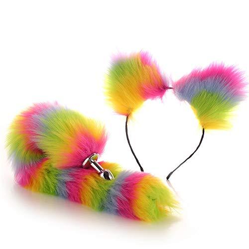 Peluche Fluffy Fox Tail Ănál Plũġ y diadema Ears Toys Bëd Games Los mejores juguetes de regalo para parejas (Color: Colorful, Size: L)