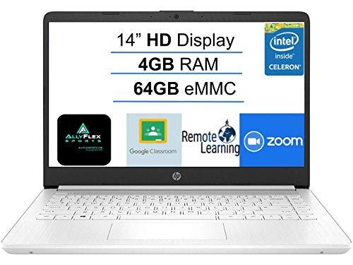 Newest HP 14' Laptop Computer, Intel Celeron N4020 up to 2.8GHz, 4GB DDR4 RAM, 64GB eMMC, WiFi, Bluetooth 5, HMDI, Type-C, Webcam, Snowflake White, Windows 10 S,AllyFlex Mousepad, Online Class Ready