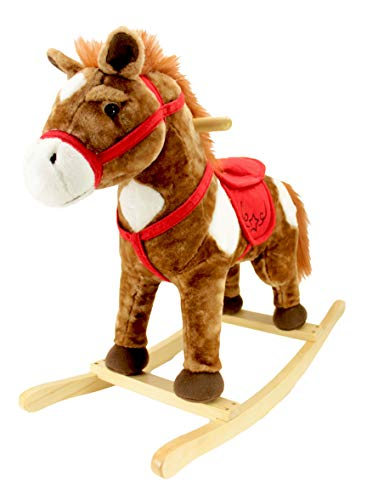 Product Image of the Animal Adventure | Real Wood Ride-On Plush Rocker | Chestnut Horse | Perfect for...